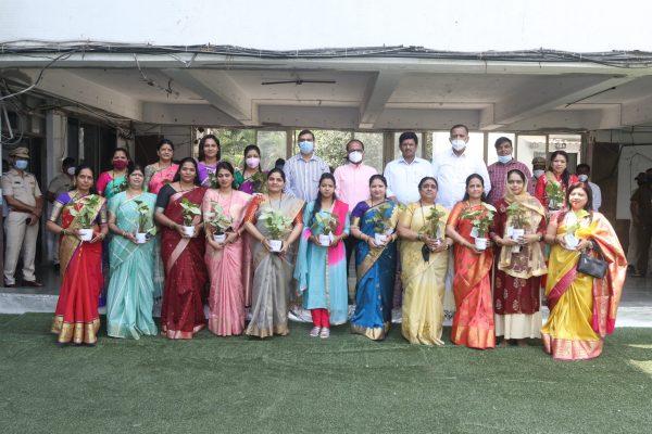 International national womensday-indoor plants- thane corporation- mayor-naresh mhaske